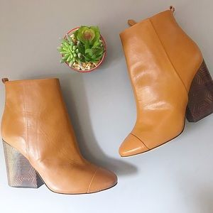 tory burch / grove tan block heel ankle booties